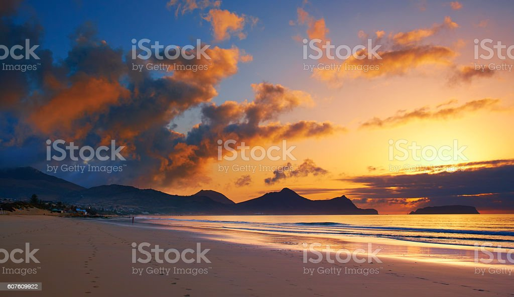 The Sun Rises On Porto Santo Beach stock photo