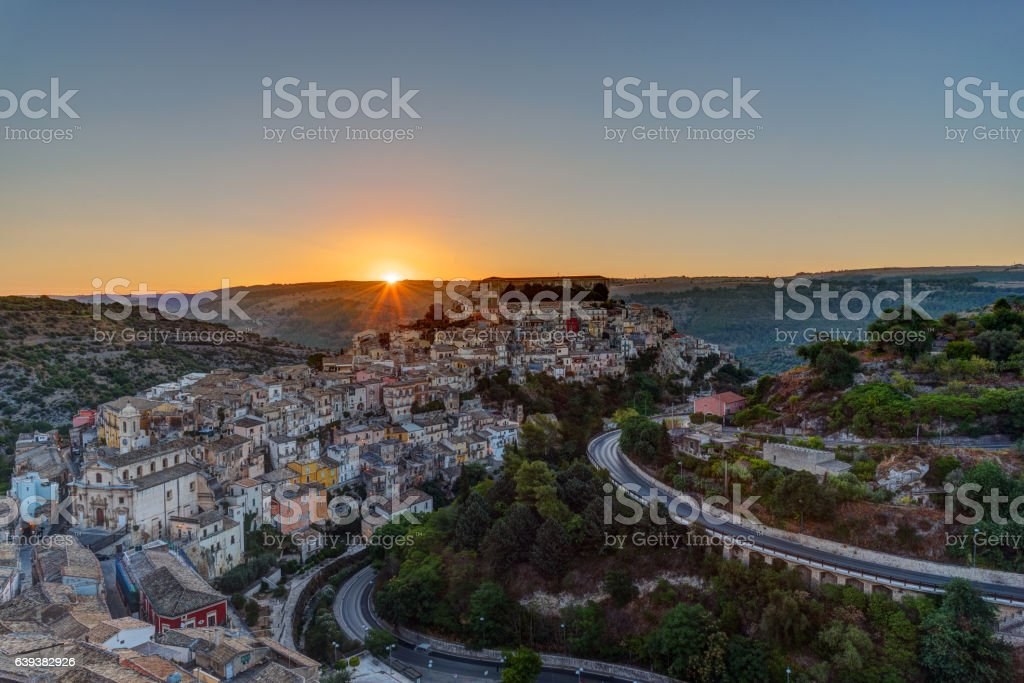 The sun rises over Ragusa Ibla in Sicily stock photo