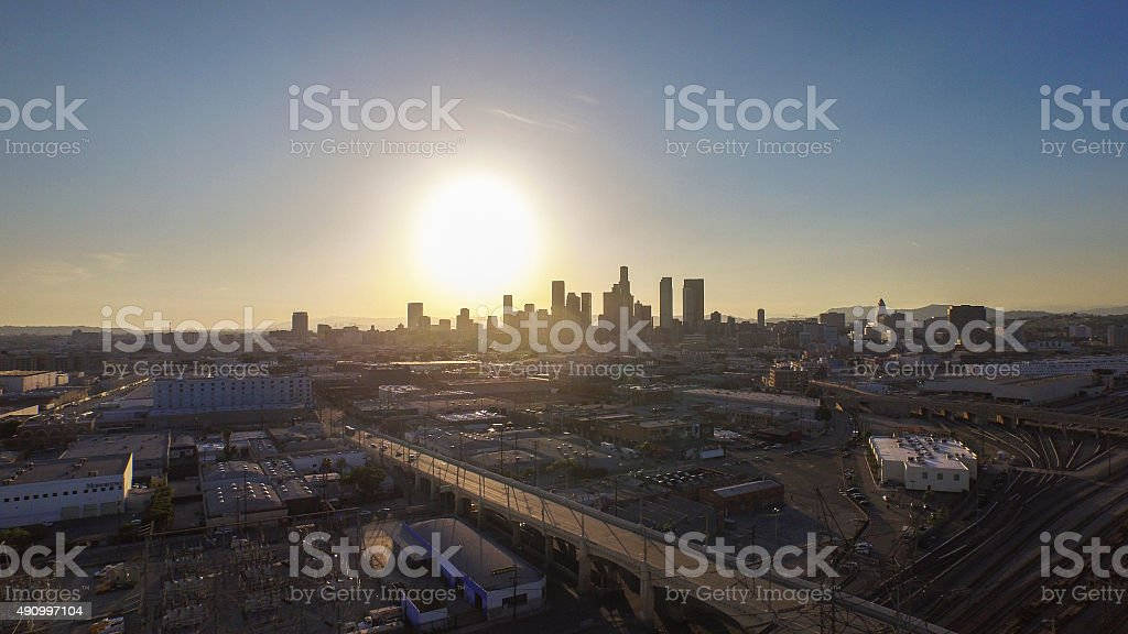 The Sun Sets on Downtown Los Angeles stock photo