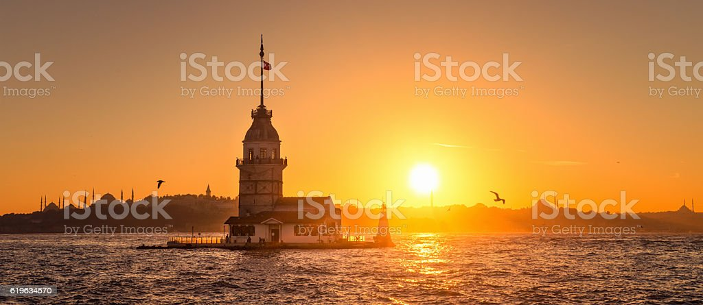 The sun setting on Istanbul's Skyline stock photo