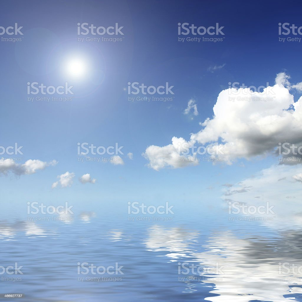 The sun shines over water royalty-free stock photo