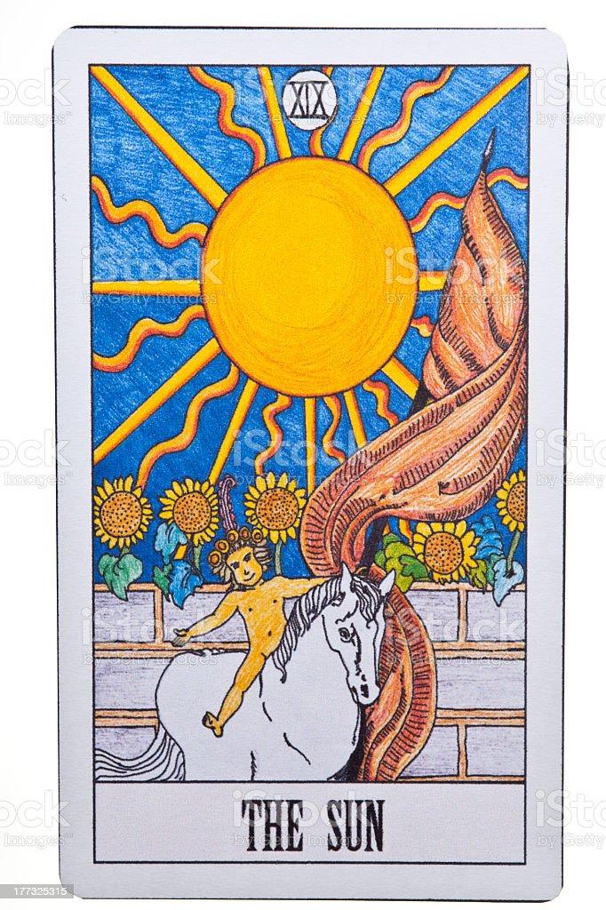 The sun tarot card on white background stock photo