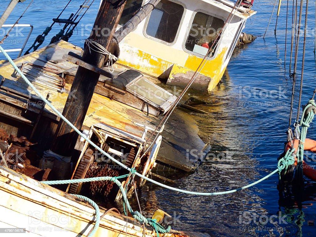 The sunken barge stock photo