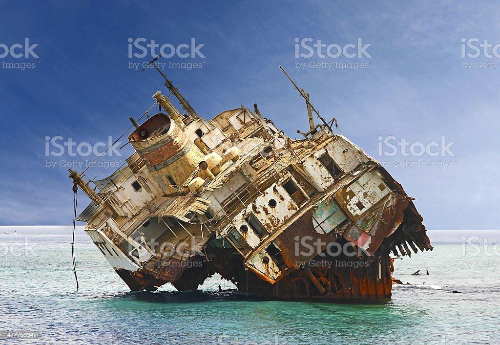 The sunken shipwreck on reef, Egypt stock photo