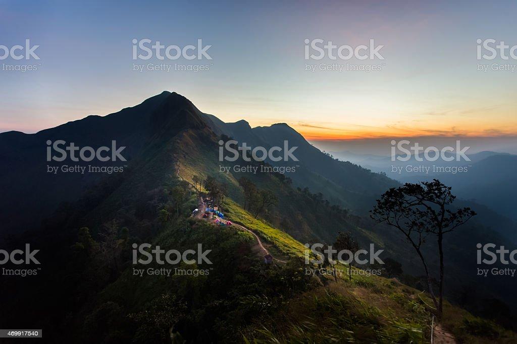 The sunrise at Kaochangpuek Thailand stock photo