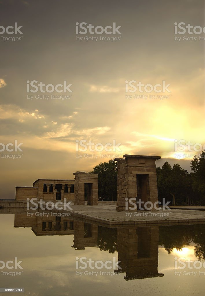 The sunset at Temple of Debod stock photo