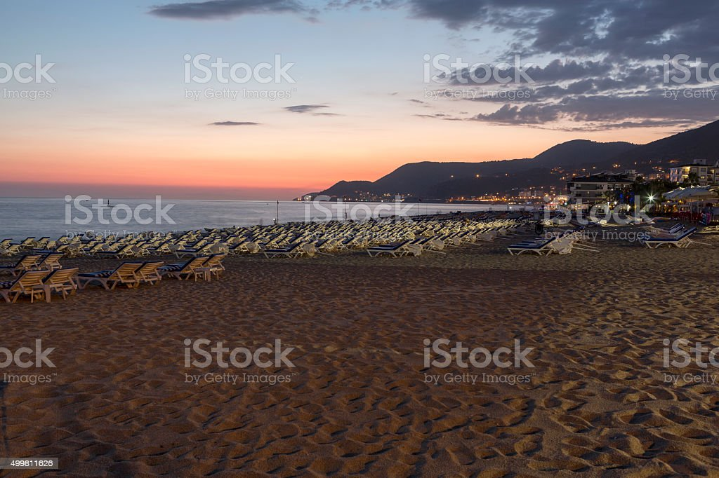 The sunset at the Cleopatra beach  in Alanya. stock photo