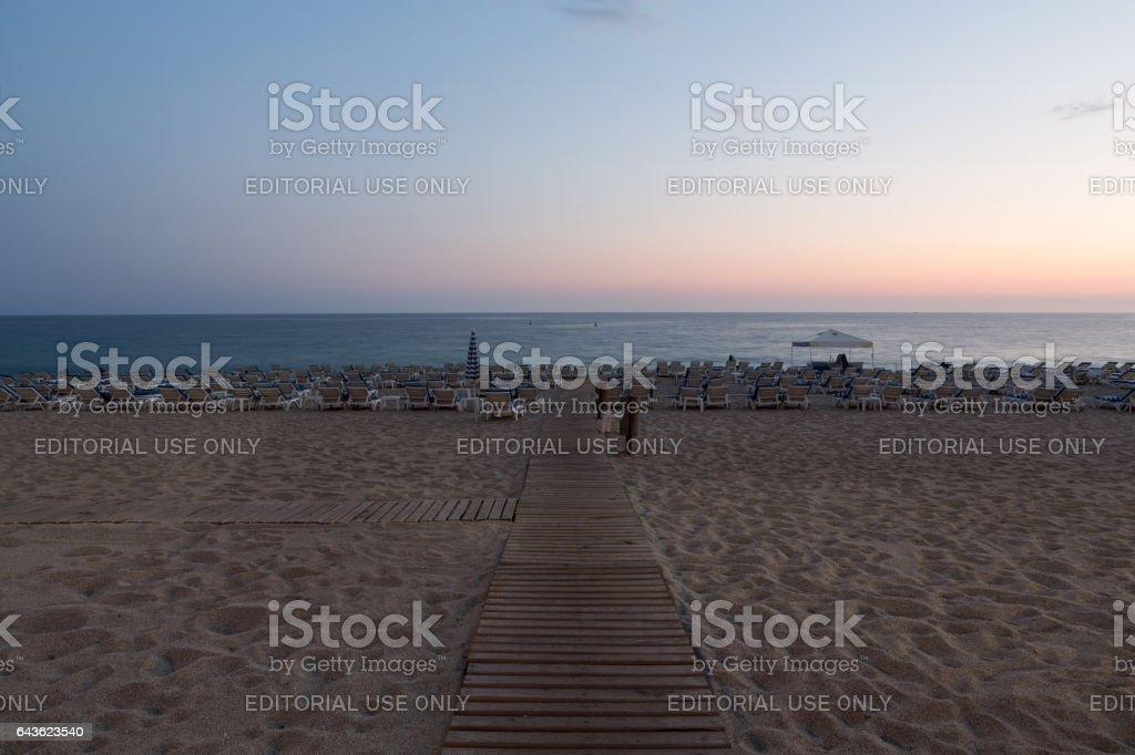 The sunset at the Cleopatra beach  in Alanya. Turkey stock photo