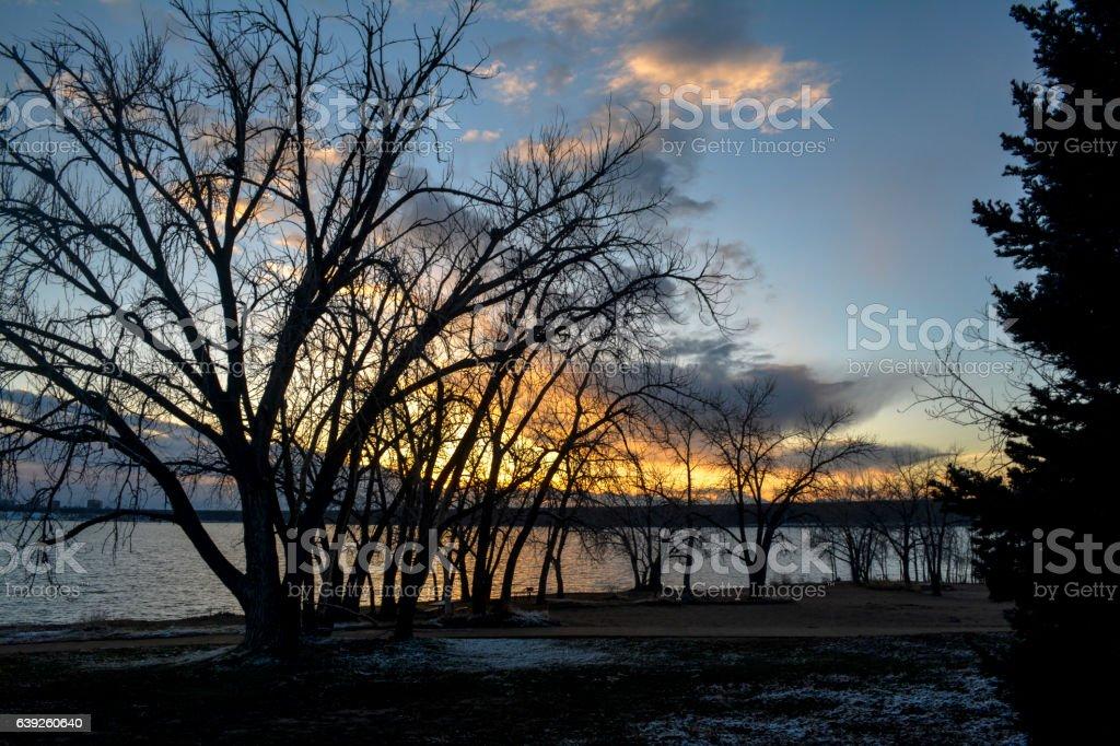 El atardecer detrás de los árboles stock photo