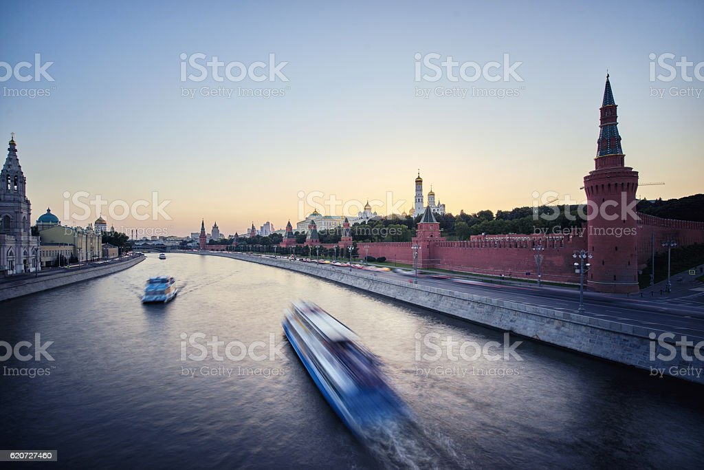 the sunset of moscow river,russia stock photo