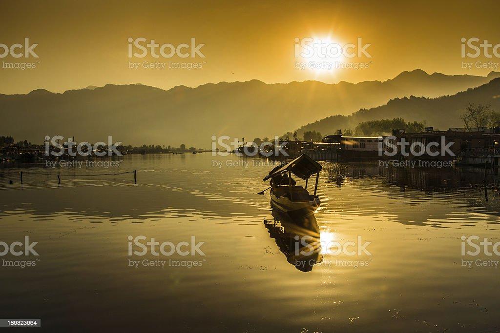 The sunset on Dal lake stock photo