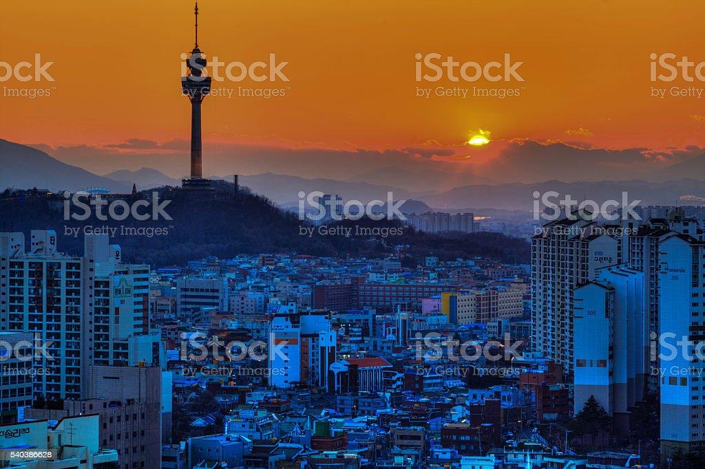 The sunsets in Daegu, Korea stock photo