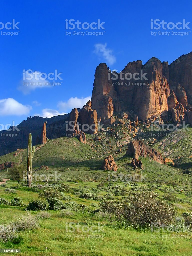 The Superstition Mountains stock photo