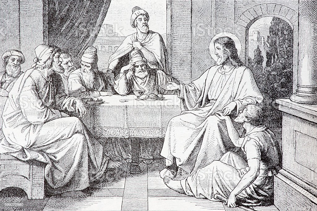 The Supper in the House of Simon Pharisee lithography stock photo