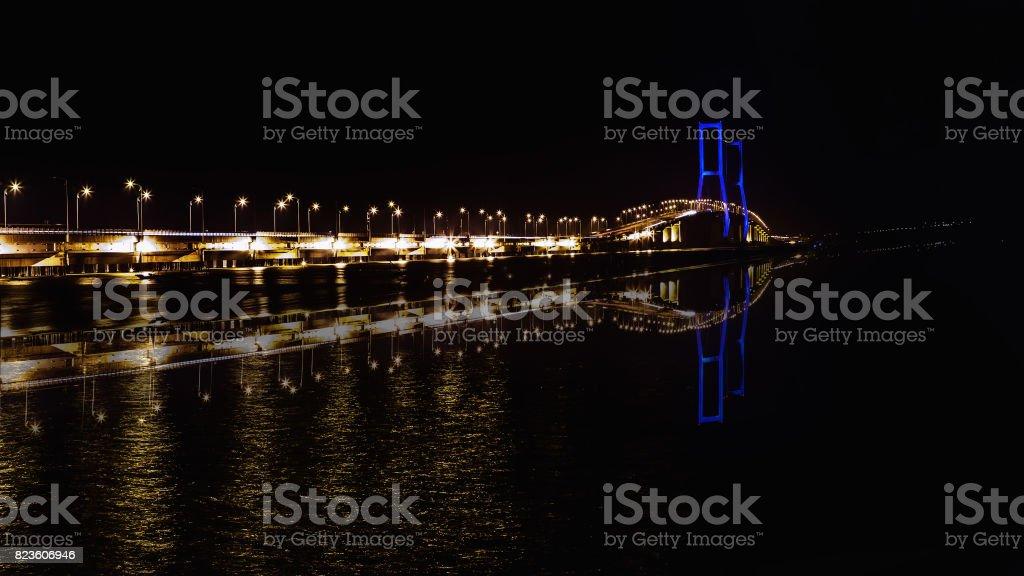 The Suramadu Bridge at Twilight time, Surabaya, Indonesia. Is the longest Bridge in Indonesia. stock photo
