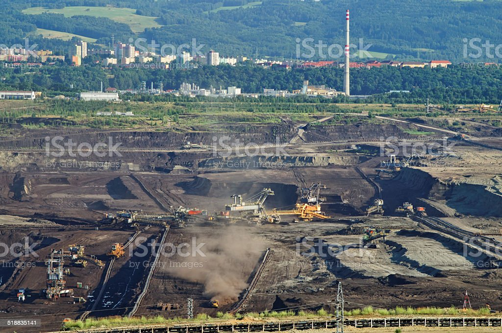 The surface mine mining of brown coal stock photo