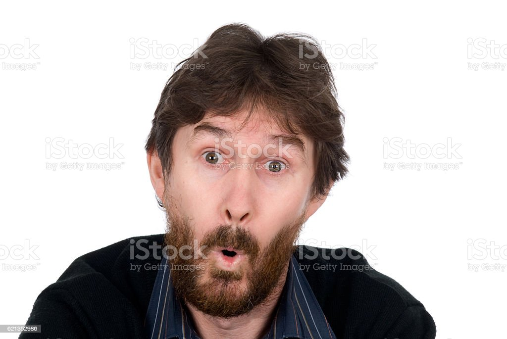 The surprised man with a beard stock photo