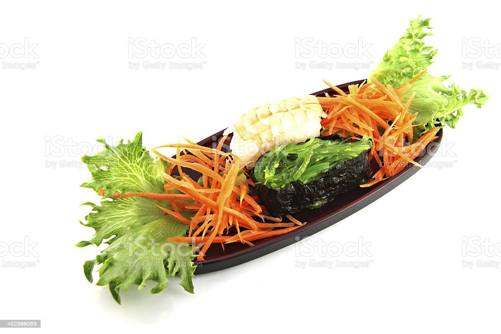 The Sushi made €‹from Shrimp and nori. royalty-free stock photo