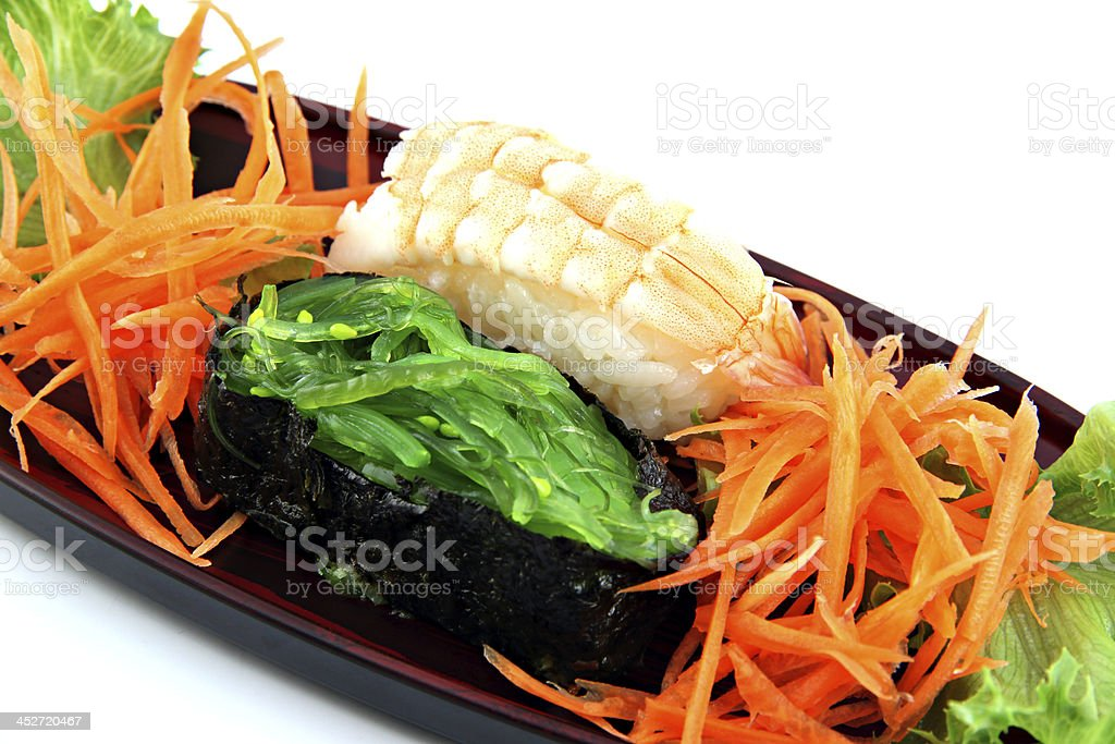 The Sushi made from Shrimp and nori. royalty-free stock photo