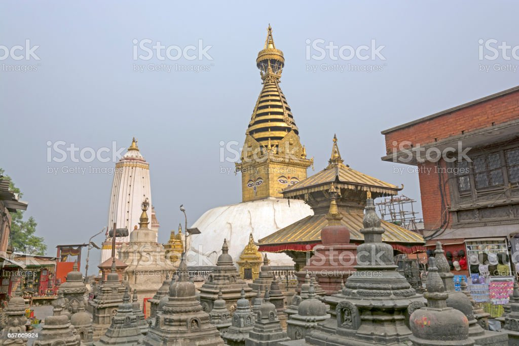 The Swayambhunath Shrine Complex in Nepal stock photo