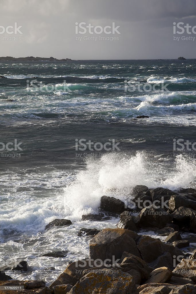 The Swinge tidal power source Alderney stock photo