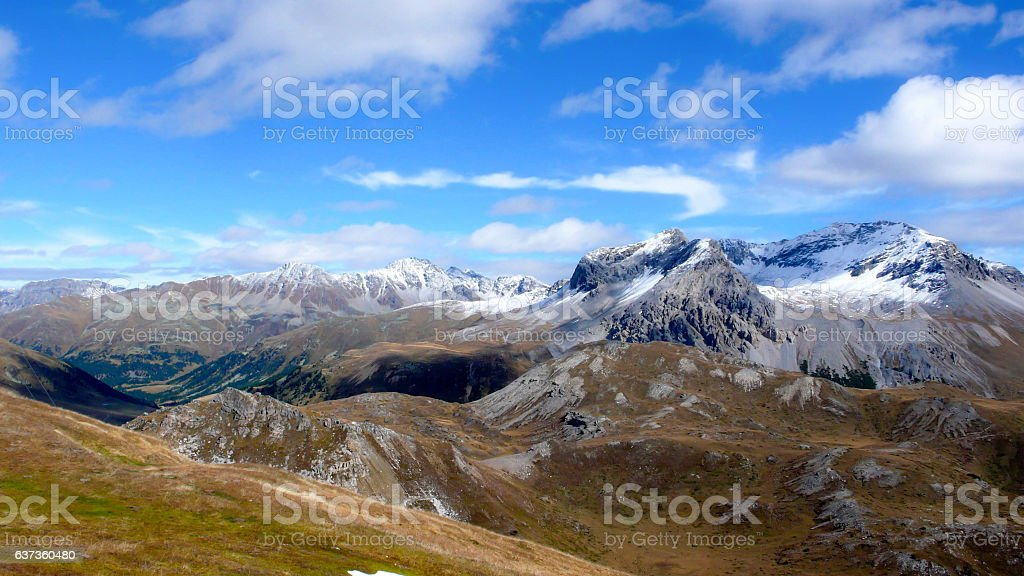 the Swiss Alps in fall at first snow stock photo