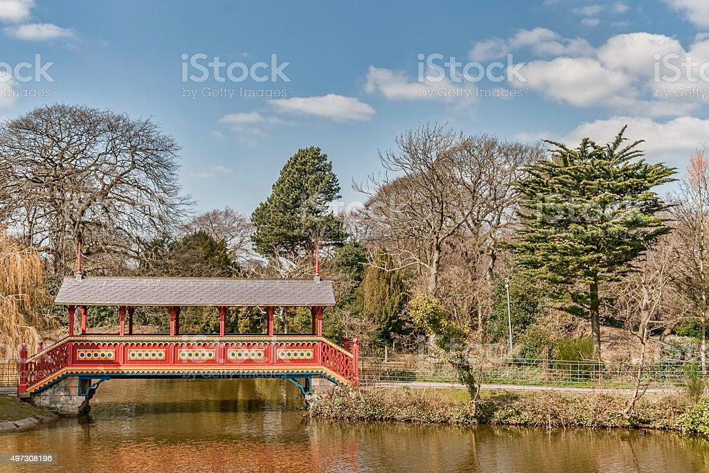 The swiss bridge birkenhead park UK. stock photo