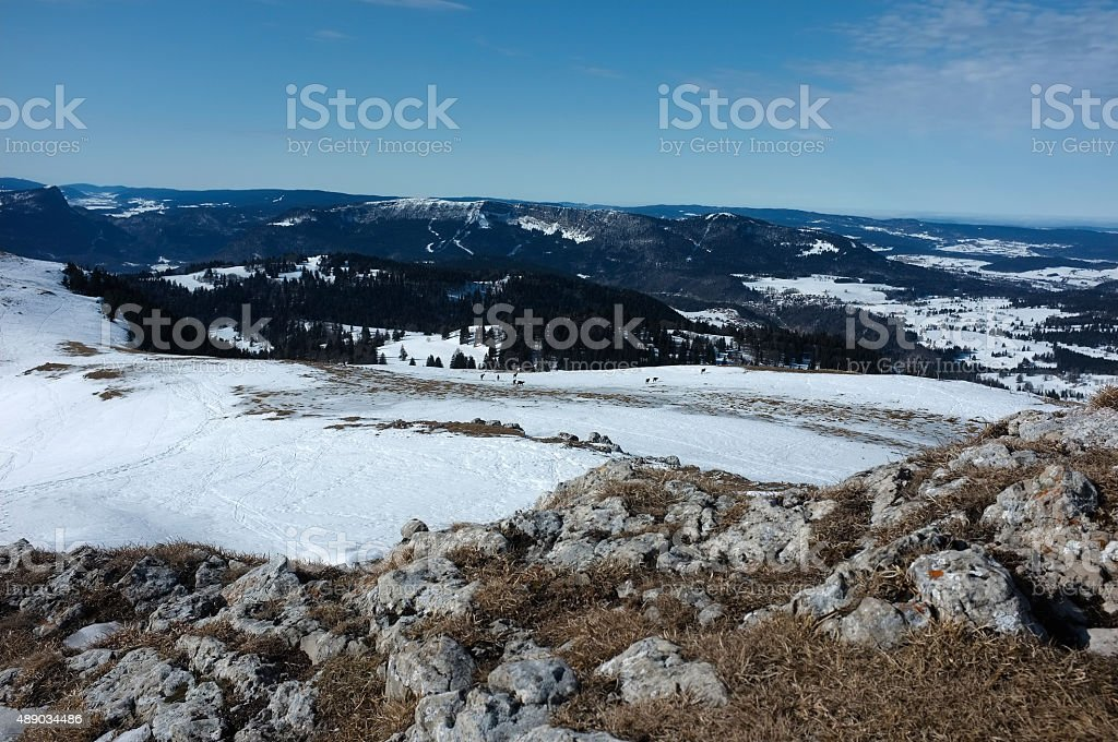 The Swiss Jura mountain range in Winter stock photo