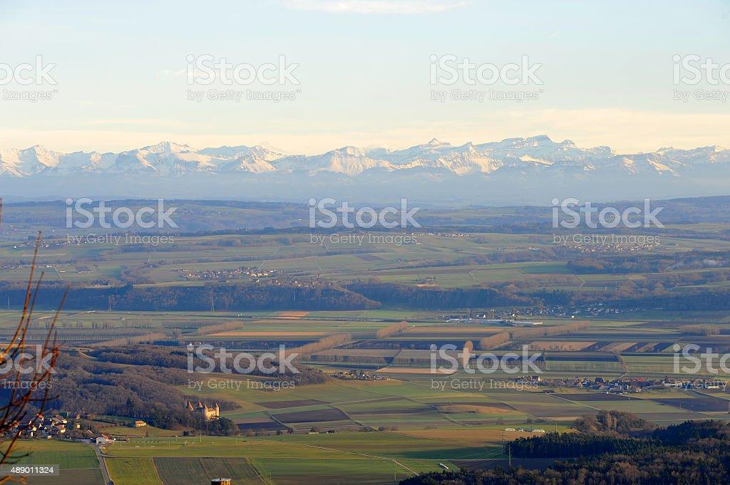 The Swiss Plateau from Aiguilles de Baulmes in Jura stock photo