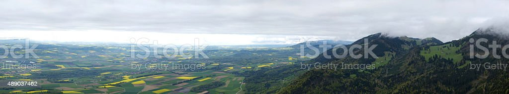 The Swiss Plateau (From the Aiguilles de Baulmes) stock photo