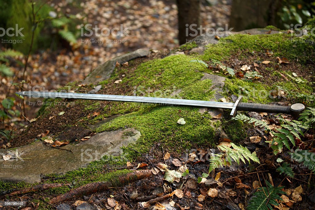 The sword lies on the mossy stone stock photo