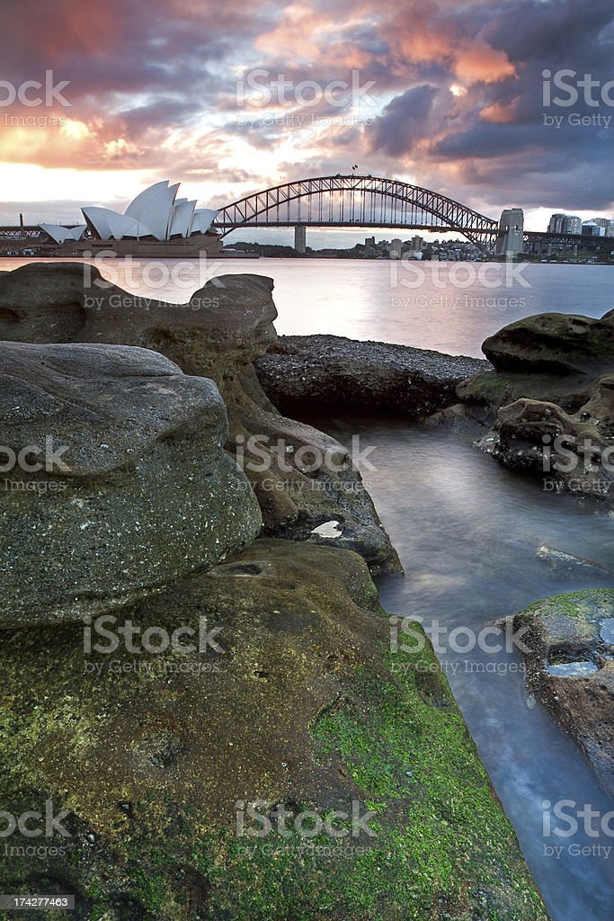 The Sydney Opera House and harbour bridge in Australia royalty-free stock photo