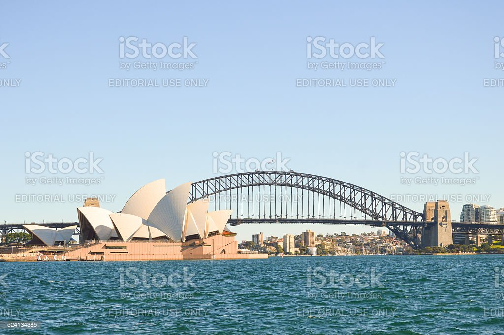 The Sydney Opera House and The Harbor Bridge stock photo