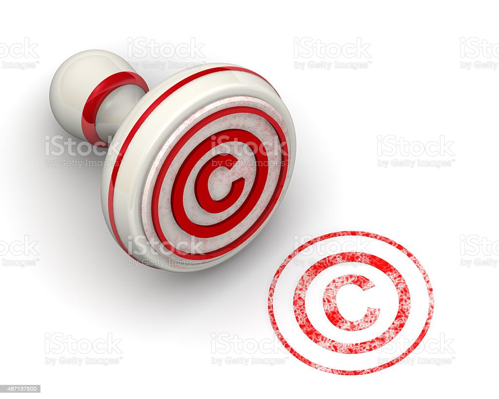 The symbol of copyright protection. Seal and imprint stock photo