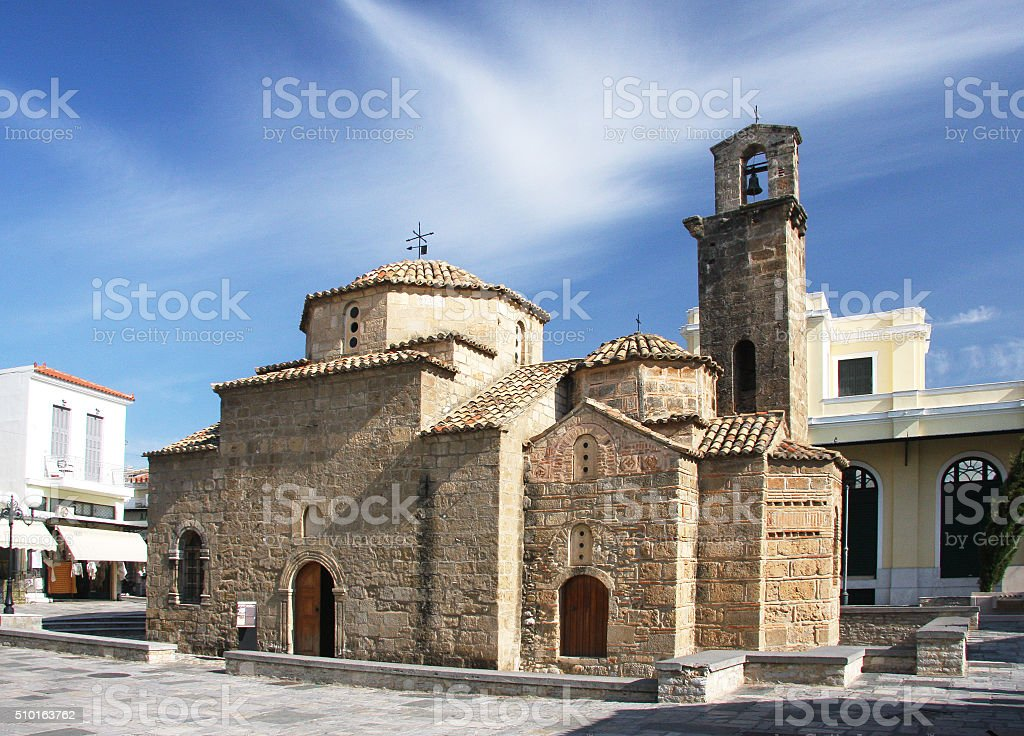 The symbol of the city of Kalamata - The Church of St. Apostles stock photo