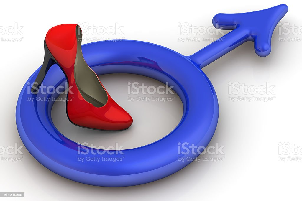 The symbol of the male gender under the high heel of women's shoes stock photo