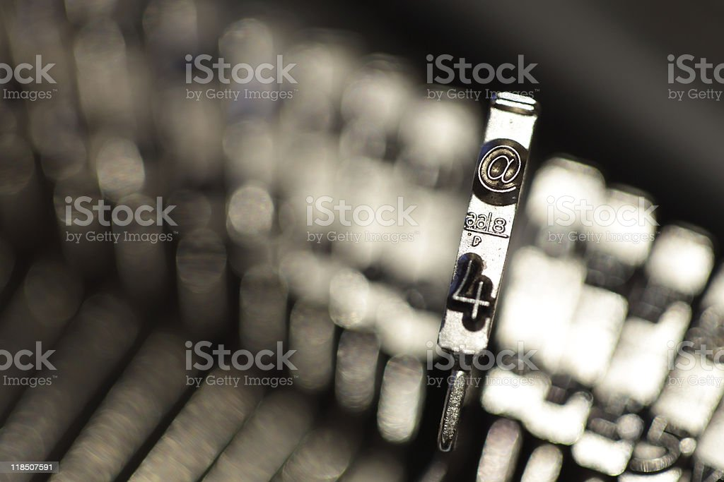 The @ symbol on a typewriter royalty-free stock photo