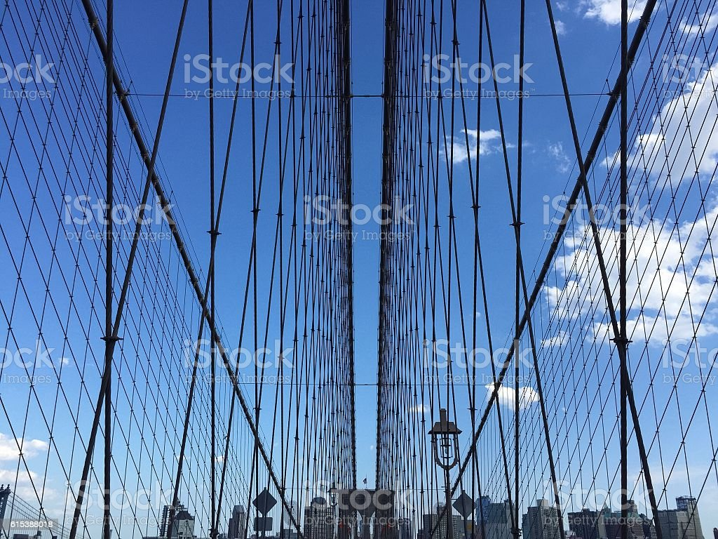 The symmetry of Brooklyn bridge cable stock photo