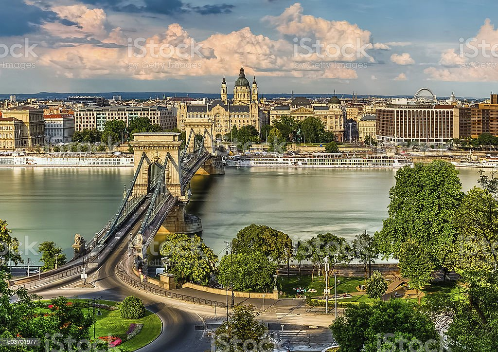 The Szechenyi Chain Bridge, Basilica and the Budapest Eye stock photo