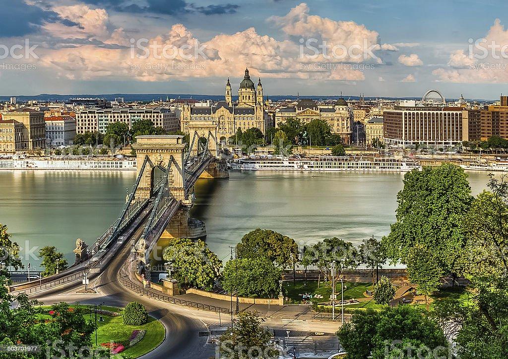 The Szechenyi Chain Bridge, Basilica and the Budapest Eye stock photo