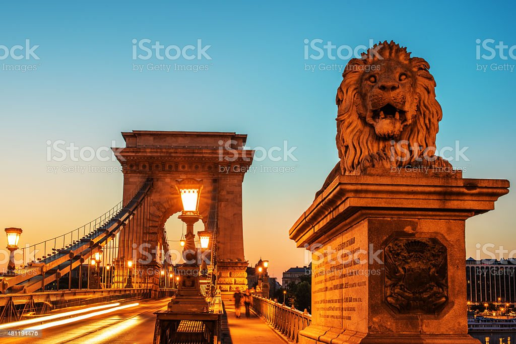 The Szechenyi Chain Bridge in Budapest, Hungary stock photo