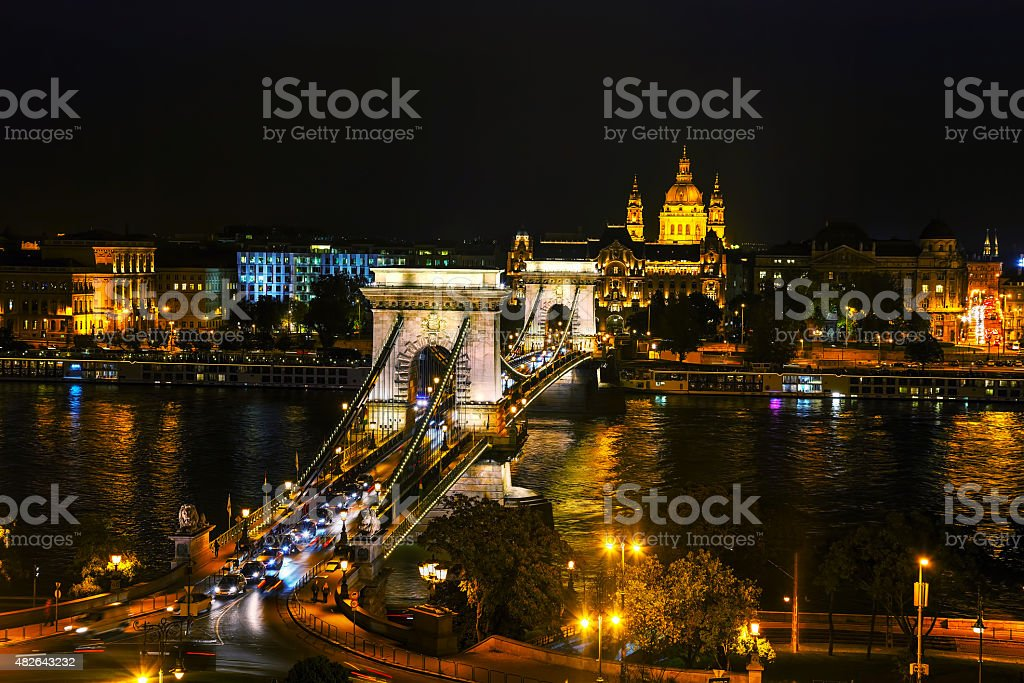 The Szechenyi Chain Bridge in Budapest stock photo