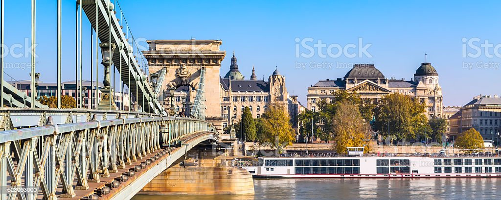 The szechenyi chain bridge on Danube river, Budapest stock photo