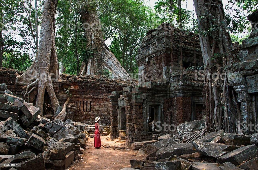 The Ta Prom Temple, Cambodia stock photo