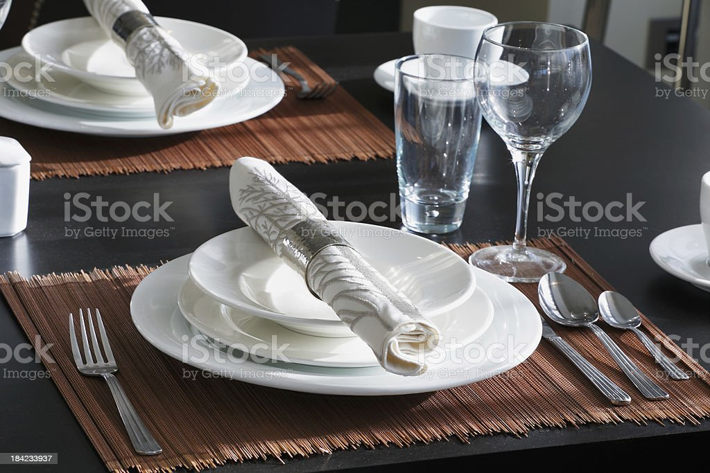 The table is set for a western style dinner royalty-free stock photo