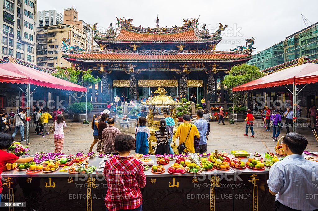 The Taipei lungshan Temple in Taiwan. stock photo