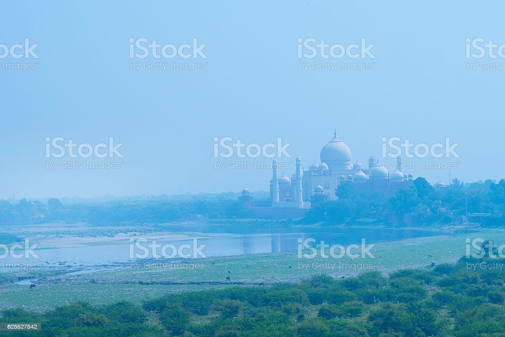 The Taj Mahal and river Yamuna stock photo
