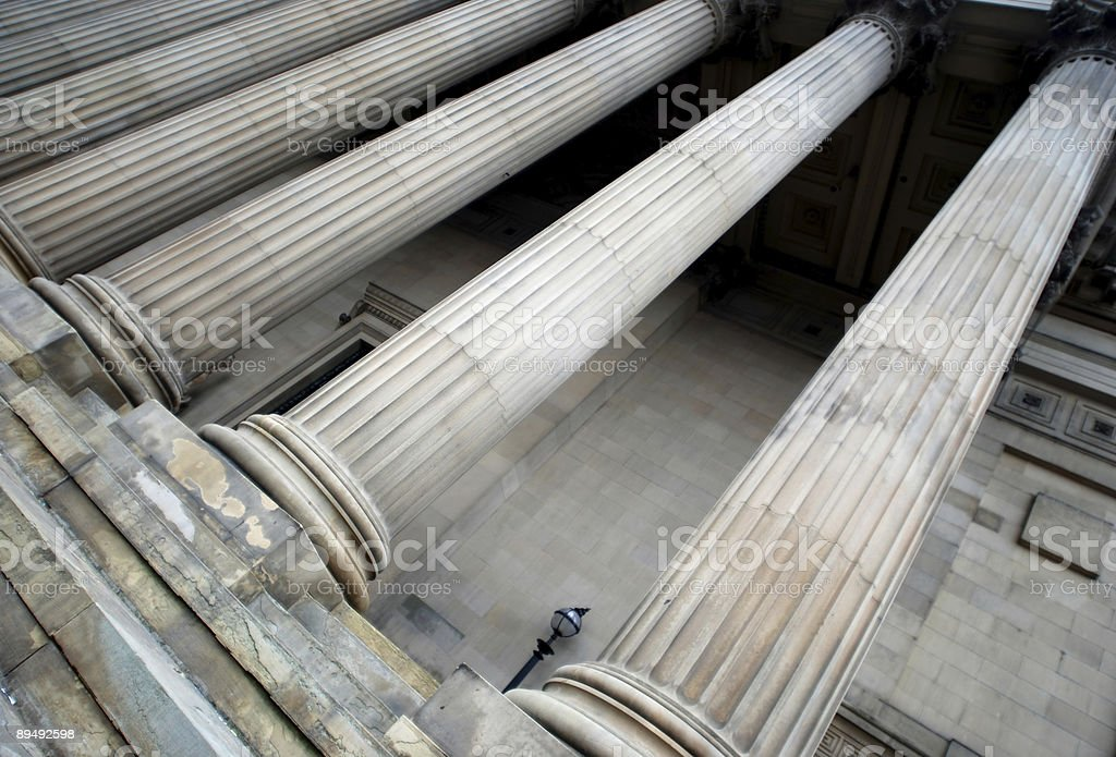 The tall columns of St.George's Hall in Liverpool royalty-free stock photo