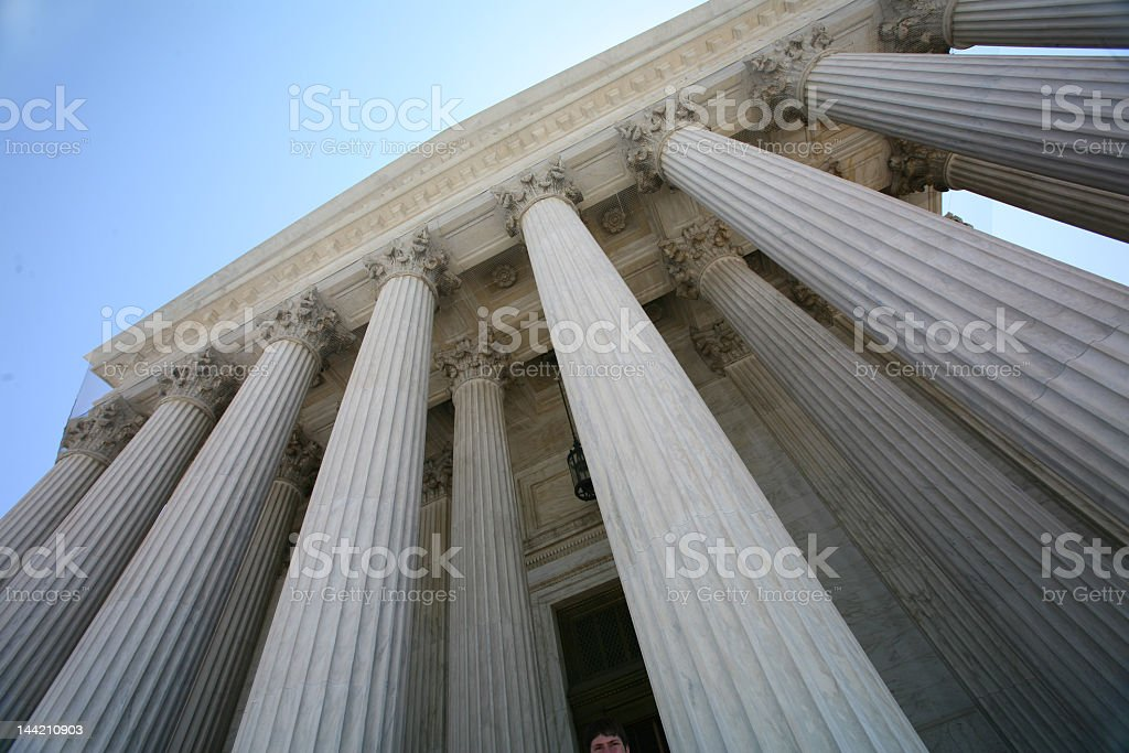 The tall pillars of the US Supreme Court building royalty-free stock photo
