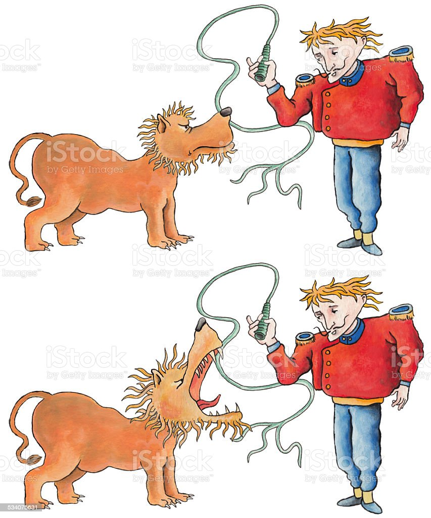 The tamer and the lion stock photo